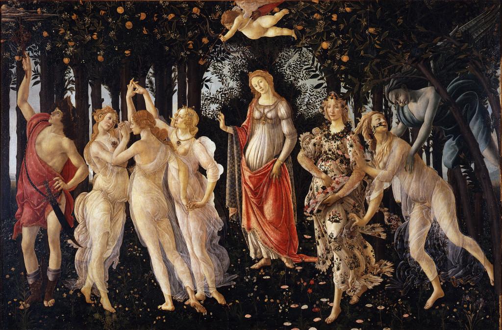Primavera, Sandro Botticelli, 1482. Si tratta di una delle opere più famose del Rinascimento.