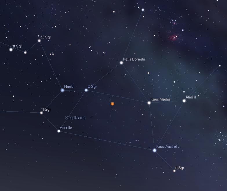 nova sagittarii nella costellazione del Sagittario