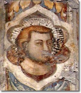 Giotto e allievi, testina, Cappella Palatina, Castel Nuovo, Napoli