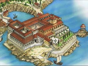 Ricostruzione in disegno della Villa romana di Pollio Felice