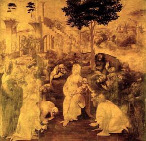 Leonardo Da Vinci, Adorazione dei Magi, 1481-1482, olio su tavola, Galleria degli Uffizi, Firenze