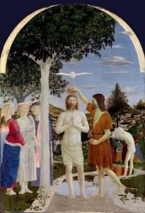 Piero Della Francesca, Battesimo di Cristo, tempera su tavola, 1445, National Gallery Londra