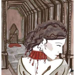 Barbablù regala alla protagonista un collier di rubini, il cui rosso sanguigno sul collo pallido anticipa la condanna a morte di lei.