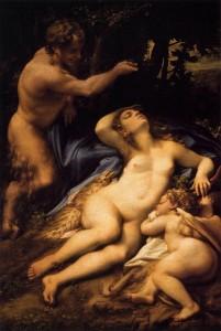 Correggio, Venere e Cupido spiati dal satiro