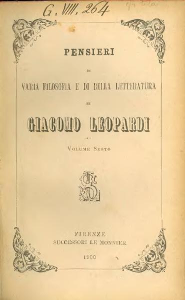 la teoria del piacere leopardi