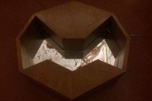 Reggia di Caserta, mostra The Rebirth Triad. Vincenzo Marsiglia, Parte dell'installazione dal titolo Sculpture Music App, 2014. Due sculture, legno intarsiato, solid sound e applicazione per iPad. Foto: Intragallery Courtesy of IAGA Art gallery-Cluj