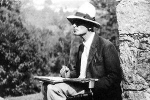 Hermann Hesse mentre dipinge