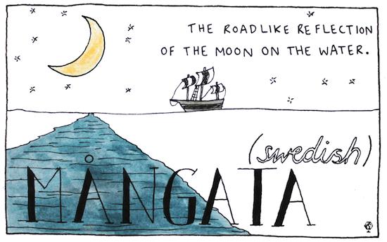 Mangata (svedese): il riflesso della luna nell'acqua che assomiglia a una strada