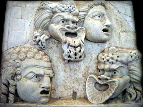 Cecilio Stazio maschere teatro romane commedia