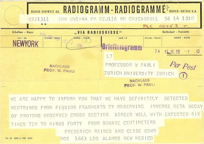 neutrini - Pauli telegram 1956