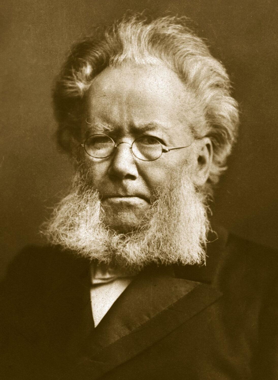 Immagine del drammaturgo Henrik Ibsen (Skien, Norvegia, 1828 - Kristania, antico nome della città di Oslo, Norvegia, 1902) in un ritratto dell'epoca.