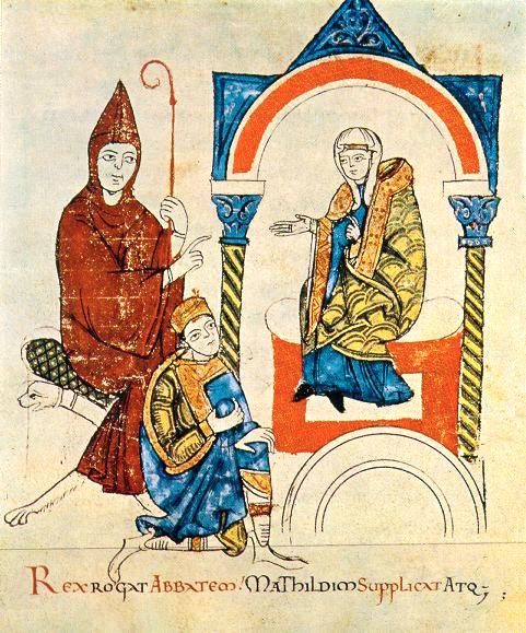 Miniatura in cui Ugo di Cluny media fra Matilde e Enrico IV