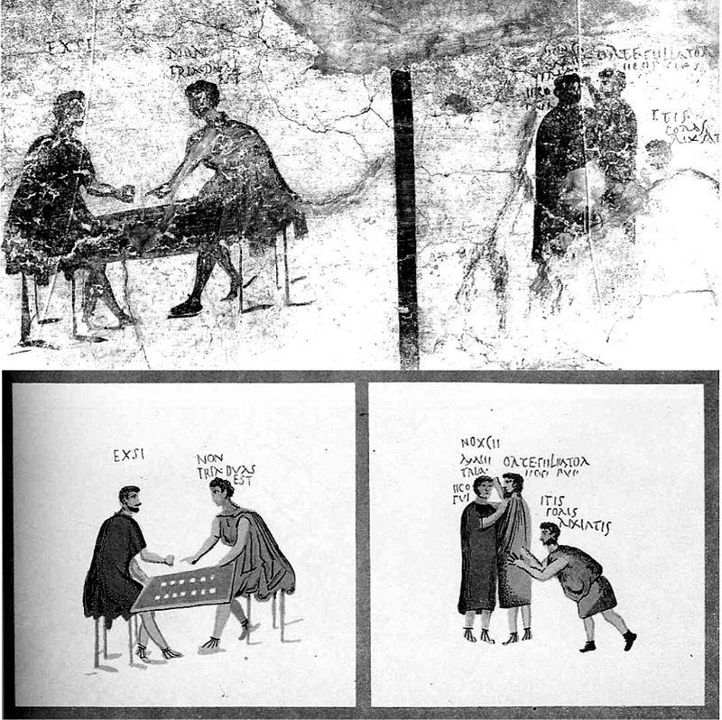 Affresco pompeiano che rappresenta un alterco dopo una partita a dadi