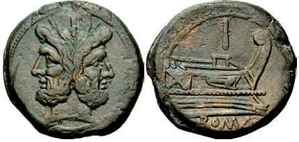 Prima moneta di bronzo romana ed essere coniata