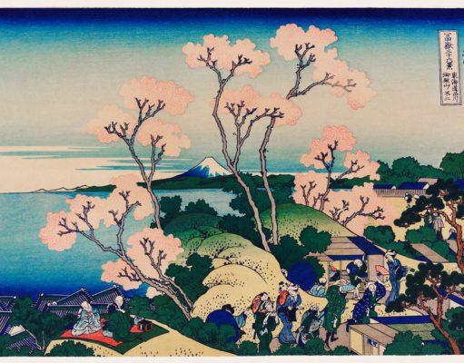 Un paesaggio floreale giapponese.