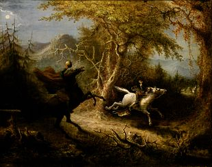 quadro di John Quidor con il cavaliere senza testa che insegue Ichabod come descritto nella Leggenda della valle addormentata e Il mistero di Sleepy Hollow.