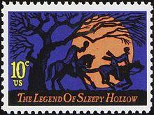 francobollo con Il cavaliere senza testa che insegue Ichabod, sotto la scritta La leggenda di Sleepy Hollow.