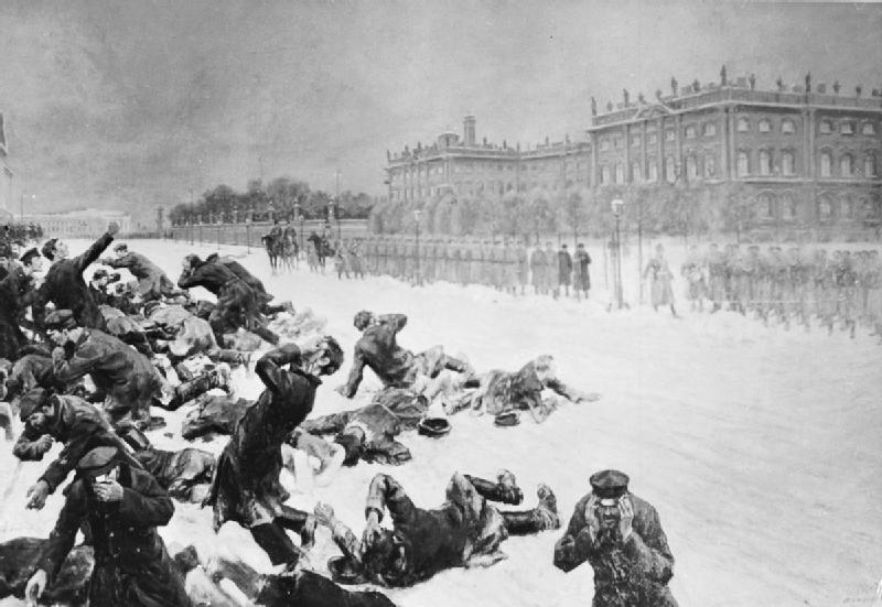 """Rappresentazione della """"Domenica di sangue"""", evento che diede inizio alla prima rivoluzione russa."""
